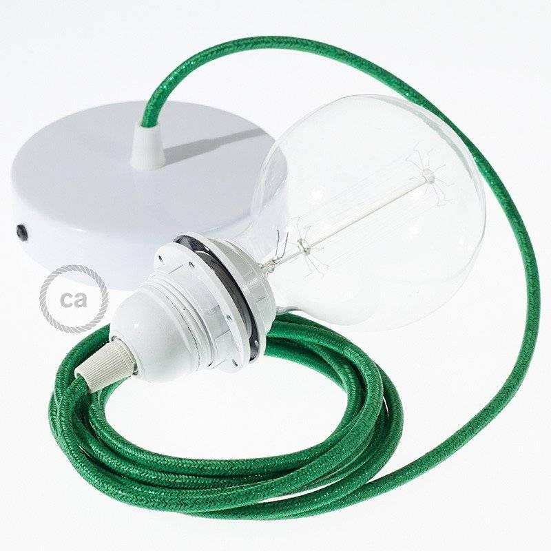 Lampe suspension pour Abat-jour câble textile Paillettes Vert RL06
