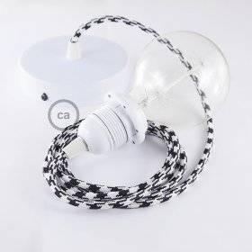 Lampe suspension pour Abat-jour câble textile Bicolore Noir RP04