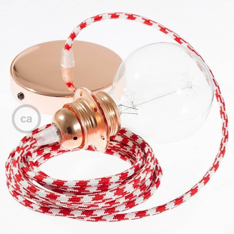 Lampe suspension pour Abat-jour câble textile Bicolore Rouge RP09