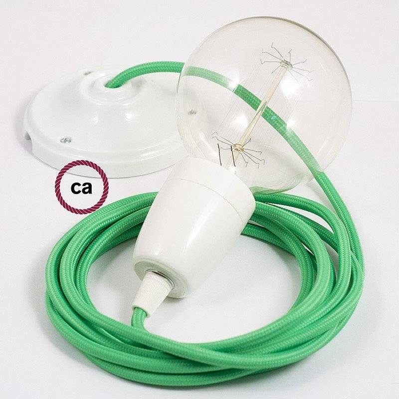 Lampe suspension en porcelaine câble textile Effet Soie Vert Lime RM18