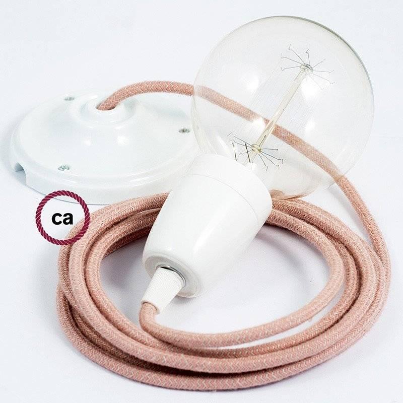 Lampe suspension en porcelaine câble textile ZigZag Vieux Rose RD71