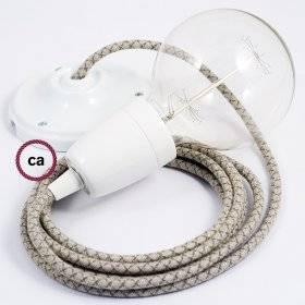 Lampe suspension en porcelaine câble textile Losange Vert Thym RD62