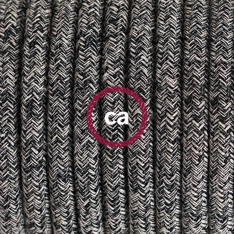 Lampe suspension en porcelaine câble textile Paillettes et Lin Naturel Noir RS81