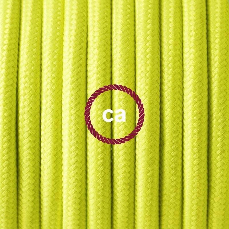 Lampe suspension en porcelaine câble textile Jaune Fluo RF10