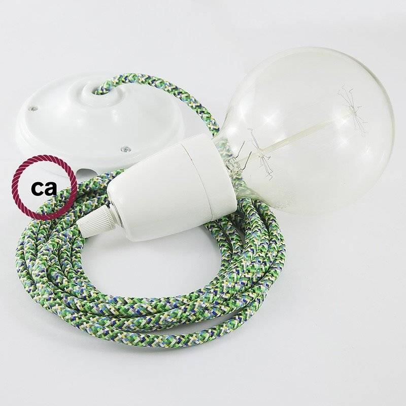 Lampe suspension en porcelaine câble textile Pixel Vert RX05