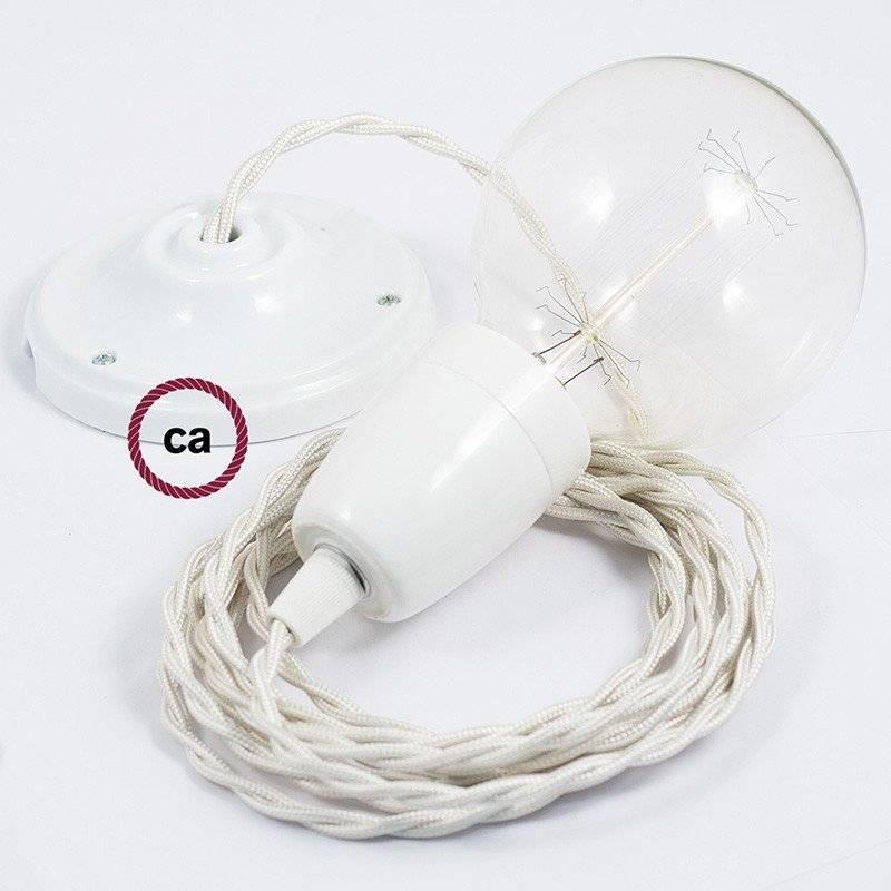 Lampe suspension en porcelaine câble textile Effet Soie Ivoire TM00