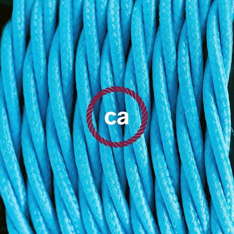 Lampe suspension en porcelaine câble textile Effet Soie Turquoise TM11