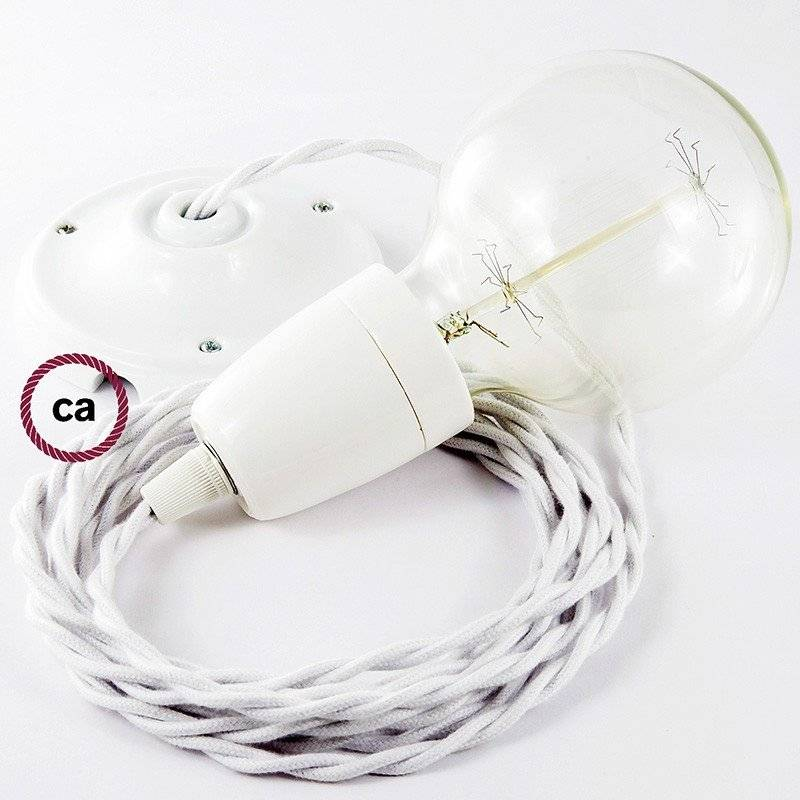 Lampe suspension en porcelaine câble textile Coton Blanc TC01