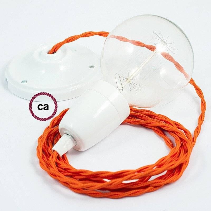 Lampe suspension en porcelaine câble textile Effet Soie Orange TM15