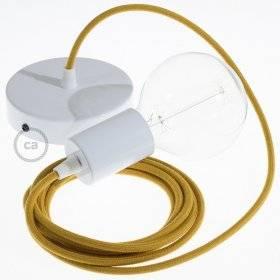 Lampe suspension câble textile Coton Miel Doré RC31