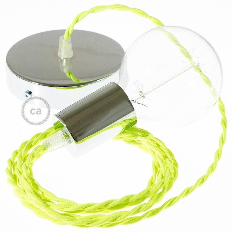 Lampe suspension câble textile Jaune Fluo TF10