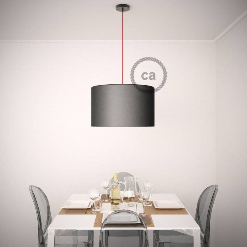 Lampe suspension pour Abat-jour câble textile Effet Soie Moutarde RM25