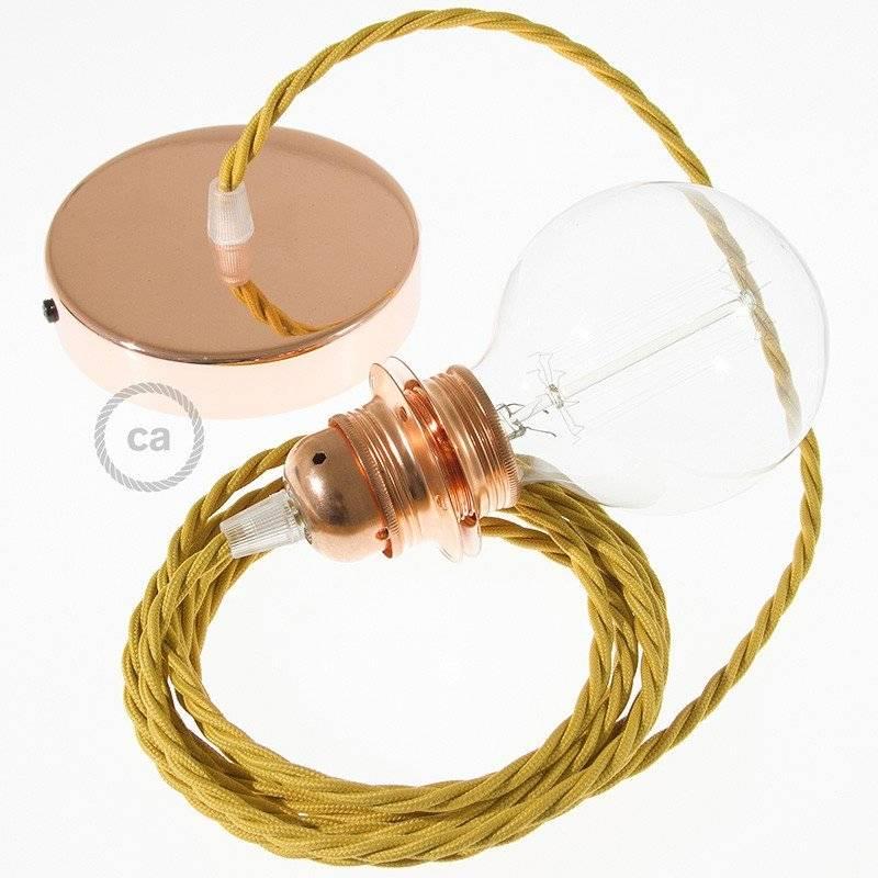 Lampe suspension pour Abat-jour câble textile Effet Soie Moutarde TM25
