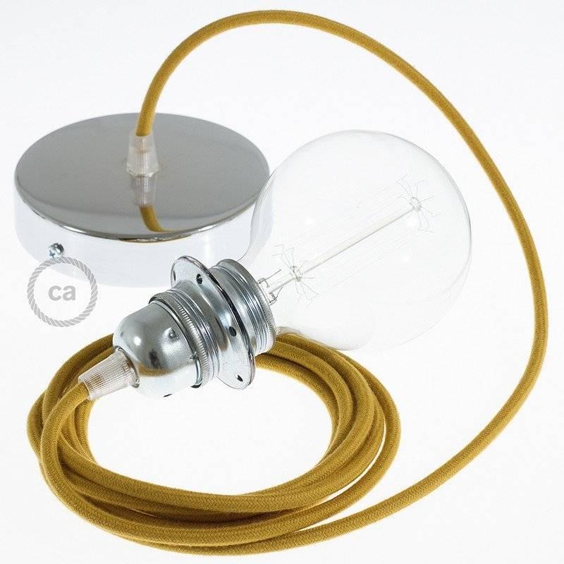 Lampe suspension pour Abat-jour câble textile Coton Miel Doré RC31