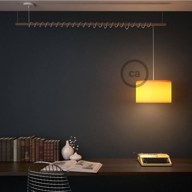 Lampe suspension pour Abat-jour câble textile Effet Soie Gris Foncé TM26