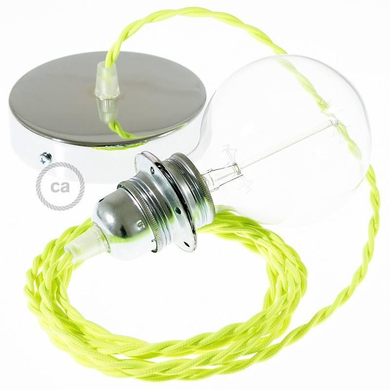 lampe suspension pour abat jour c ble textile jaune fluo tf10. Black Bedroom Furniture Sets. Home Design Ideas