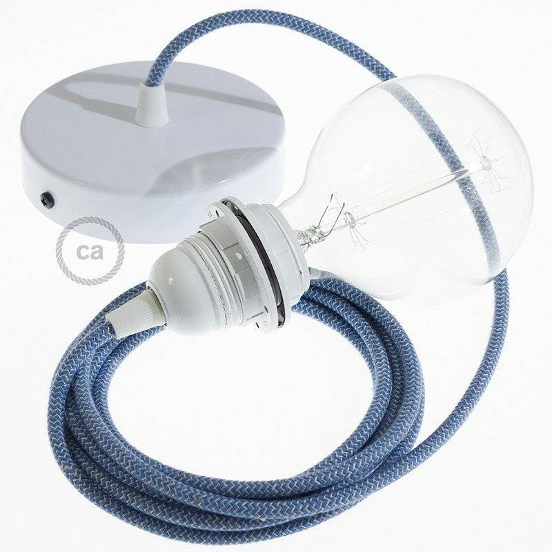 Lampe suspension pour Abat-jour câble textile ZigZag Bleu Steward RD75