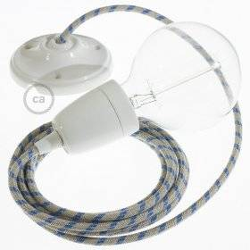 Lampe suspension en porcelaine câble textile Stripes Bleu Steward RD55