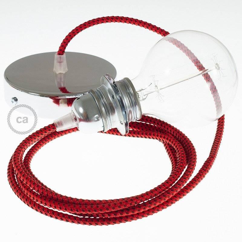 Lampe suspension pour Abat-jour câble textile 3D Red Devil RT94
