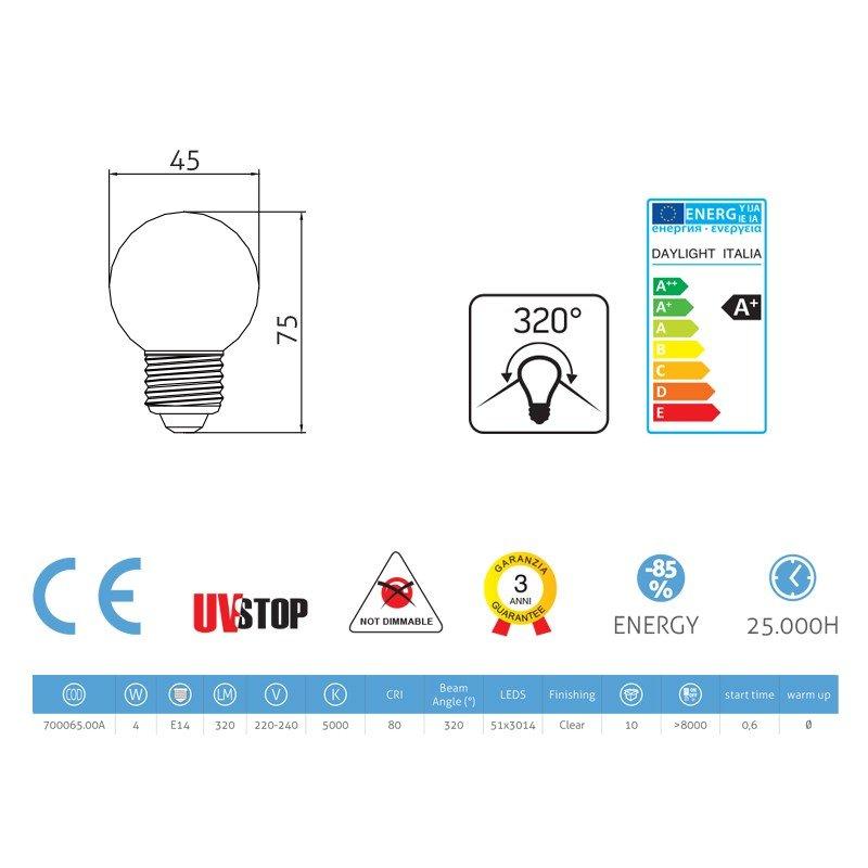 Ampoule LED Sphère 4W E14 5000K Claire