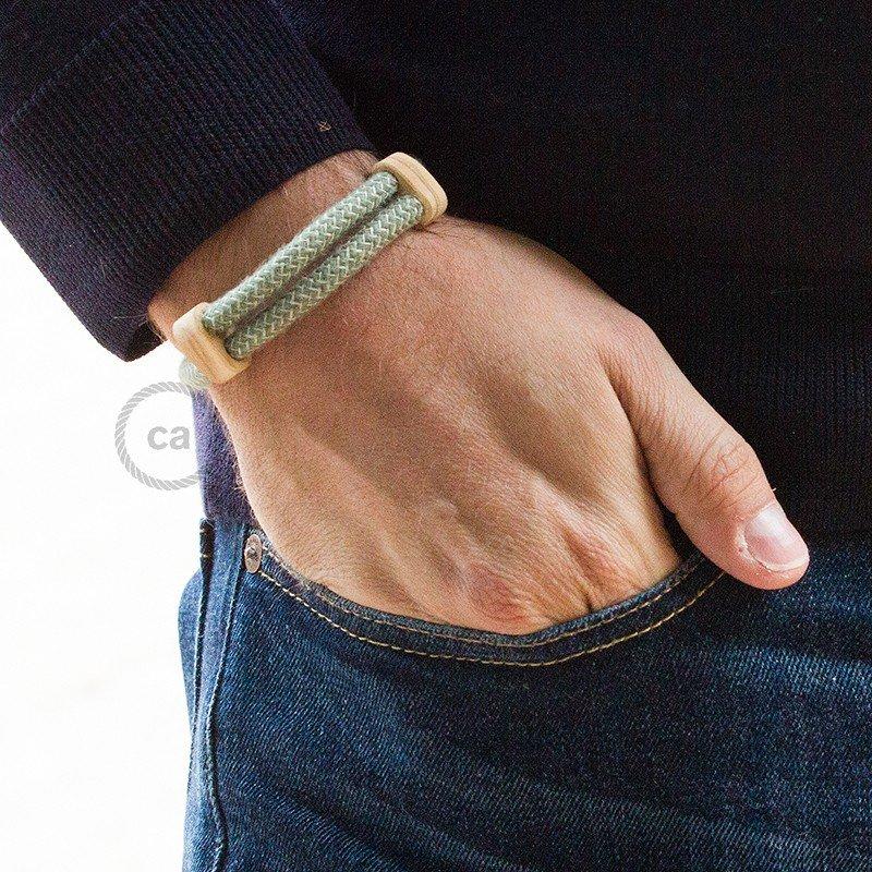 Creative-Bracelet en Coton et Lin naturel Vert Thym RD72. Fermeture coulissante en bois. Made in Italy.