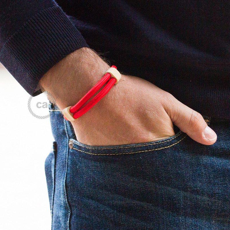 Creative-Bracelet en tissu Effet Soie Rouge RM09. Fermeture coulissante en bois. Made in Italy.