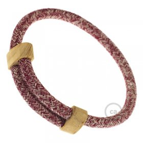 Creative-Bracelet en Coton et Lin naturel Tweed Bordeaux RS83. Fermeture coulissante en bois. Made in Italy.