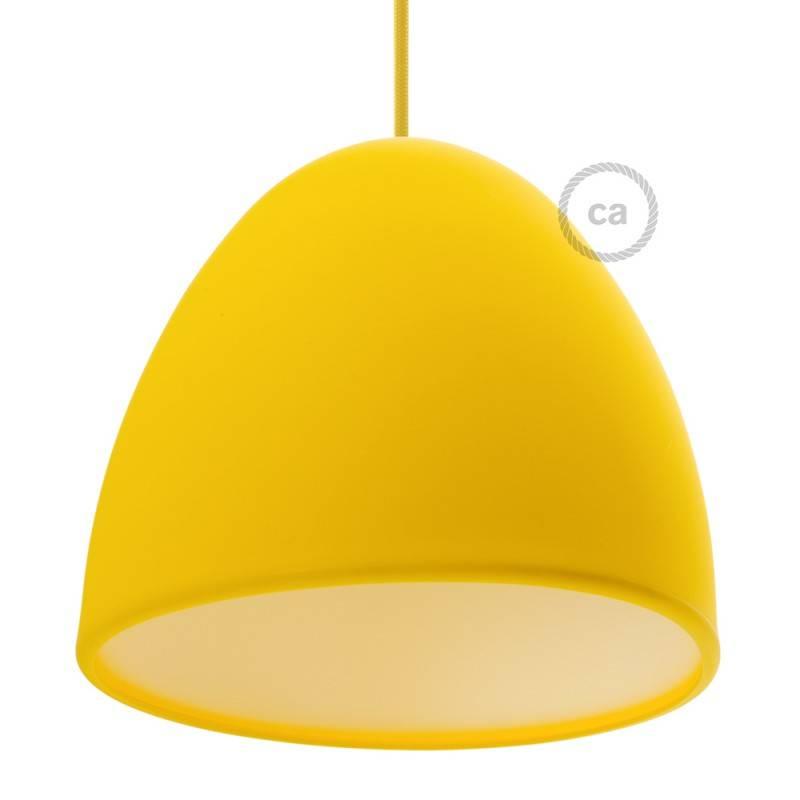 abat jour en silicone jaune complet de diffuseur et serre c ble diam tre 25 cm. Black Bedroom Furniture Sets. Home Design Ideas