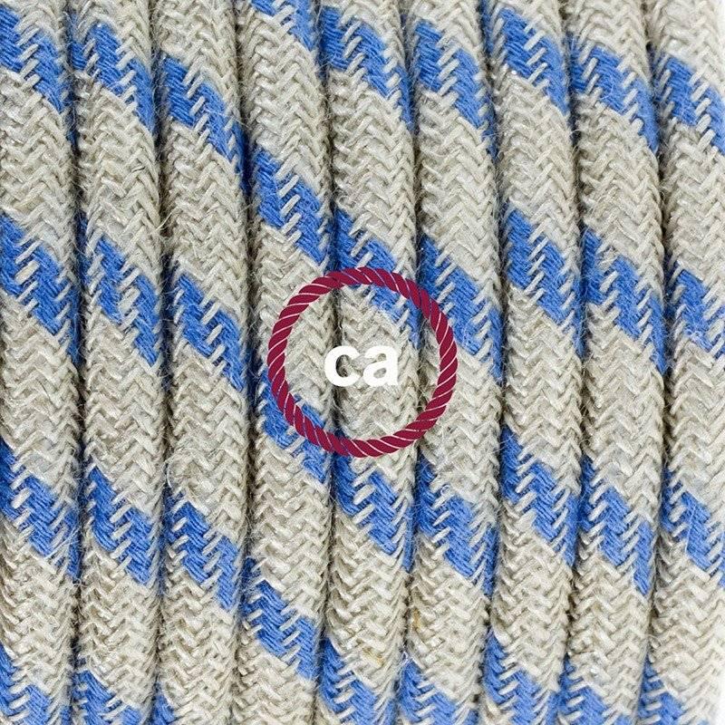 Cordon pour lampe, câble RD55 Stripes Bleu Steward 1,80 m. Choisissez la couleur de la fiche et de l'interrupteur!