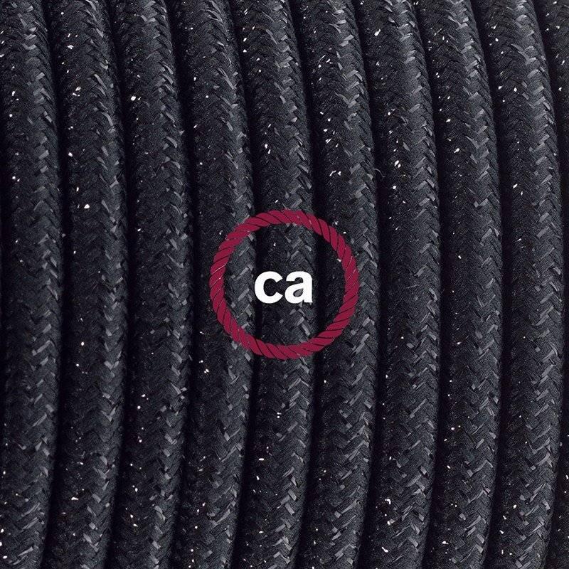 Cordon pour lampe, câble RL04 Effet Soie Paillettes Noir 1,80 m. Choisissez la couleur de la fiche et de l'interrupteur!
