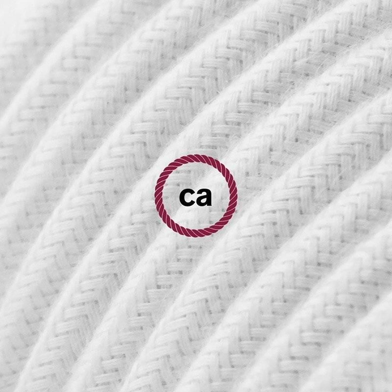 Rallonge électrique avec câble textile RC01 Coton Blanc 2P 10A Made in Italy.