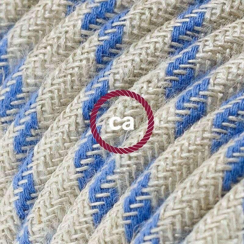 Rallonge électrique avec câble textile RD55 Coton et Lin Naturel Stripes Bleu Steward 2P 10A Made in Italy.