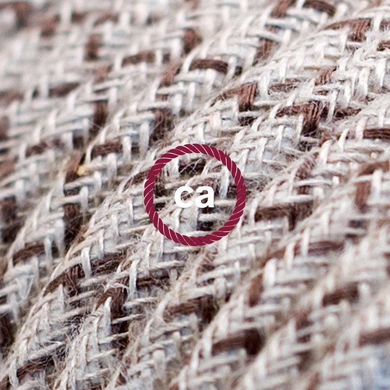 Rallonge électrique avec câble textile RD63 Coton et Lin Naturel Losange Marron Écorce 2P 10A Made in Italy.