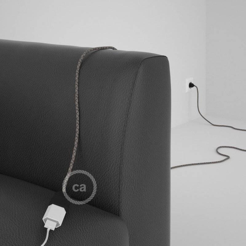 Rallonge électrique avec câble textile RD64 Coton et Lin Naturel Losange Anthracite 2P 10A Made in Italy.