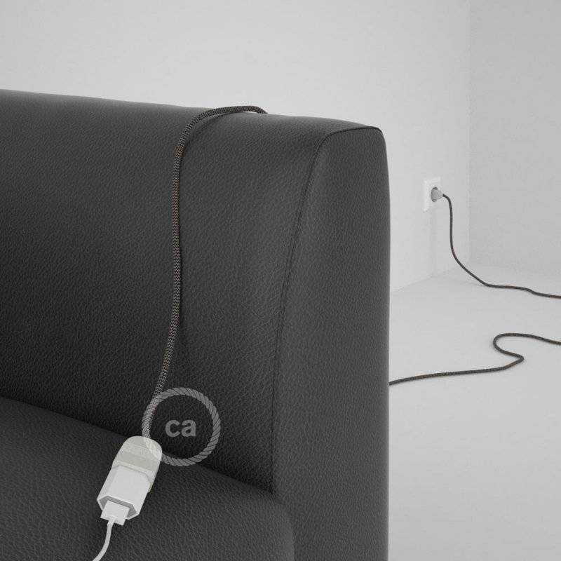 Rallonge électrique avec câble textile RD74 Coton et Lin Naturel ZigZag Anthracite 2P 10A Made in Italy.