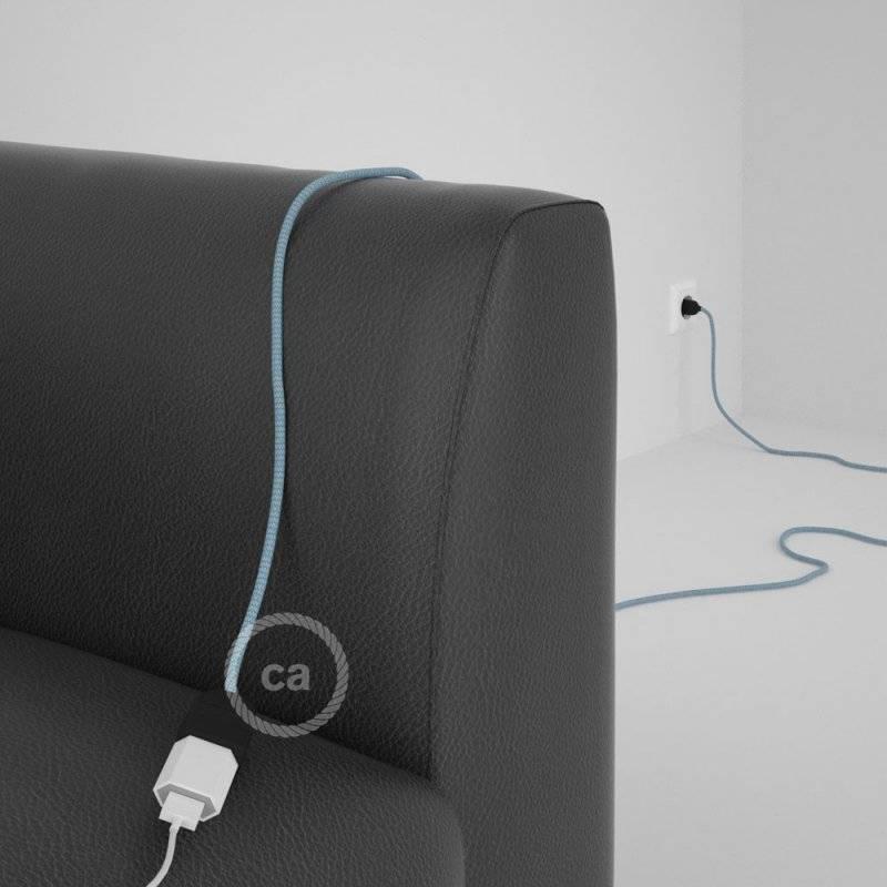 Rallonge électrique avec câble textile RD75 Coton et Lin Naturel ZigZag Bleu Steward 2P 10A Made in Italy.