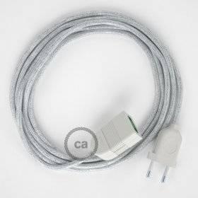Rallonge électrique avec câble textile RL01 Effet Soie Paillettes Blanc 2P 10A Made in Italy.