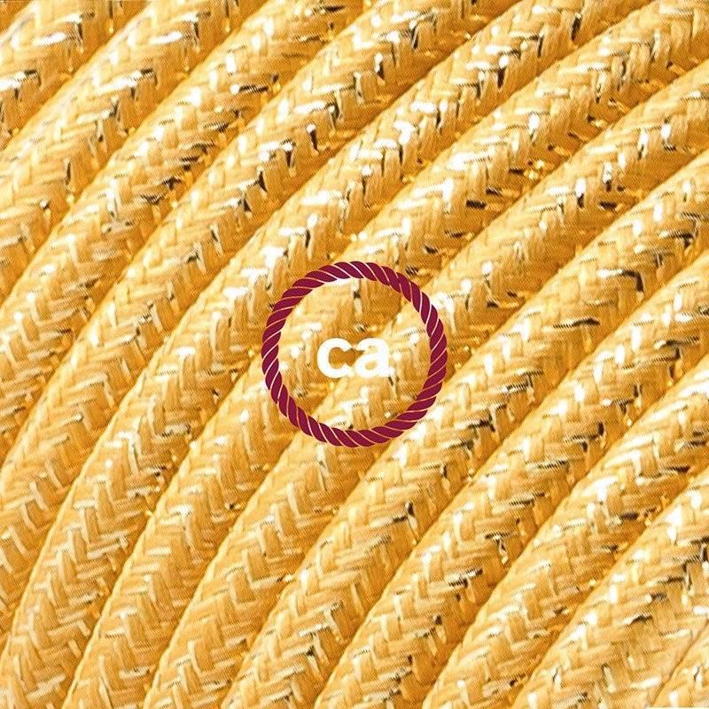 Rallonge électrique avec câble textile RL05 Effet Soie Paillettes Doré 2P 10A Made in Italy.