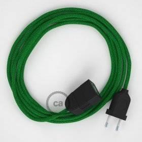 Rallonge électrique avec câble textile RL06 Effet Soie Paillettes Vert 2P 10A Made in Italy.