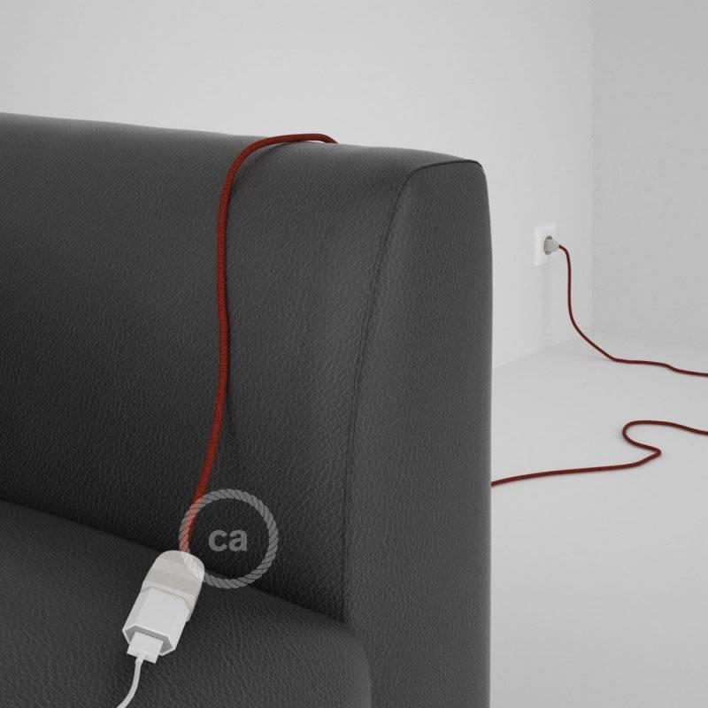 Rallonge électrique avec câble textile RL09 Effet Soie Paillettes Rouge 2P 10A Made in Italy.