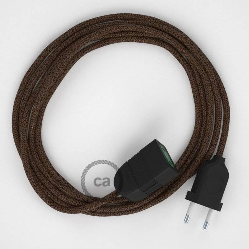 Rallonge électrique avec câble textile RL13 Effet Soie Paillettes Marron 2P 10A Made in Italy.