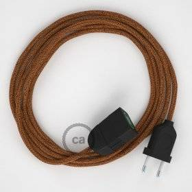 Rallonge électrique avec câble textile RL22 Effet Soie Paillettes Cuivre 2P 10A Made in Italy.