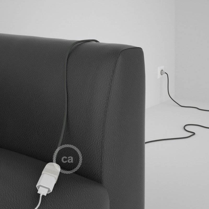 Rallonge électrique avec câble textile RM03 Effet Soie Gris 2P 10A Made in Italy.