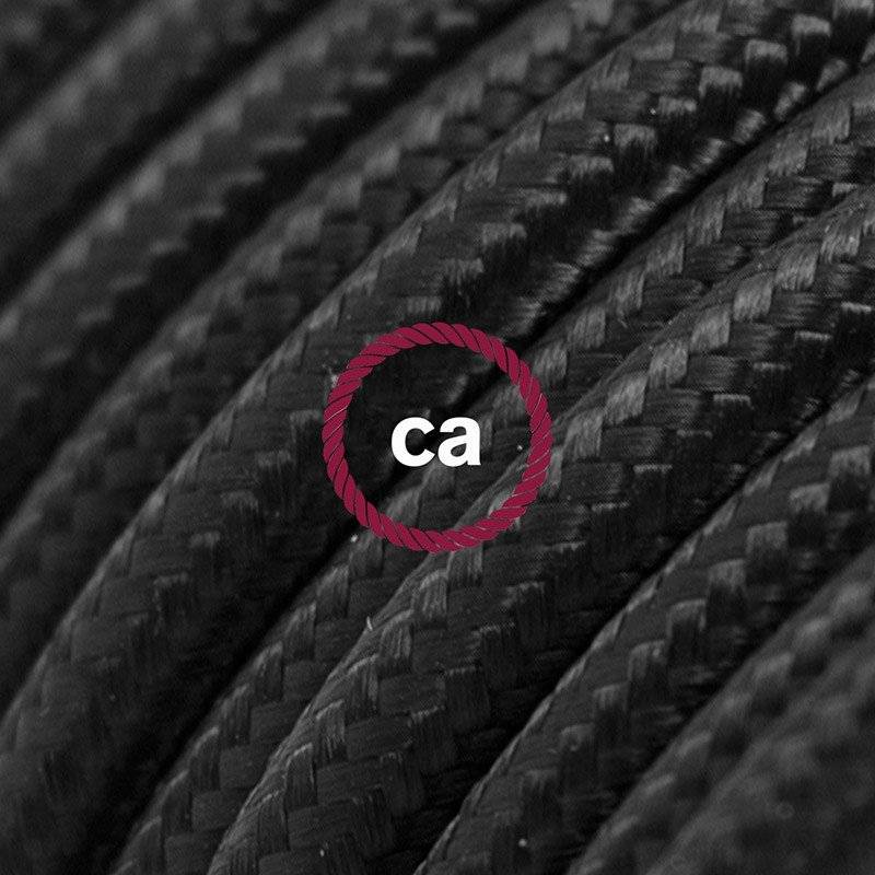 Rallonge électrique avec câble textile RM04 Effet Soie Noir 2P 10A Made in Italy.