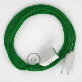 Rallonge électrique avec câble textile RM06 Effet Soie Vert 2P 10A Made in Italy.
