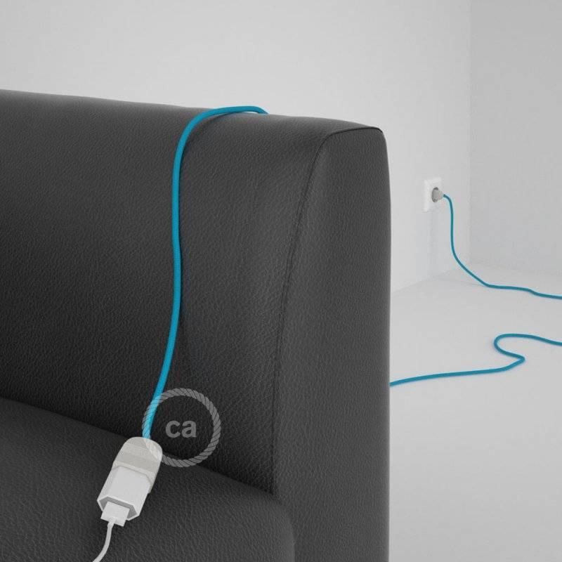 Rallonge électrique avec câble textile RM11 Effet Soie Bleu Clair 2P 10A Made in Italy.