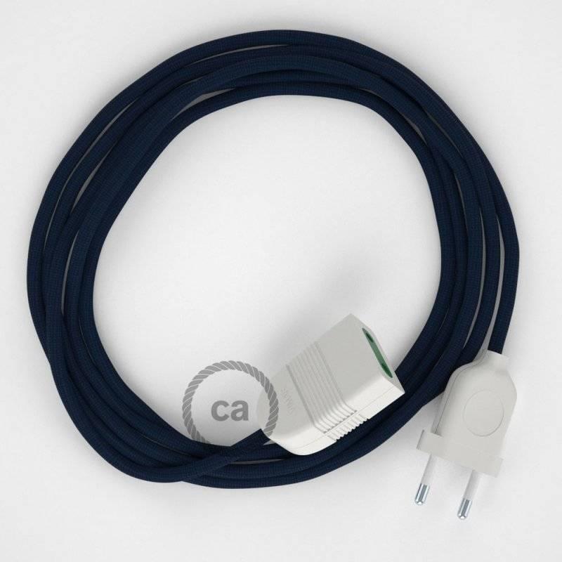 Rallonge électrique avec câble textile RM20 Effet Soie Bleu Foncé 2P 10A Made in Italy.