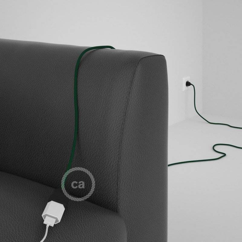 Rallonge électrique avec câble textile RM21 Effet Soie Vert Foncé 2P 10A Made in Italy.