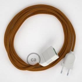 Rallonge électrique avec câble textile RM22 Effet Soie Whiskey 2P 10A Made in Italy.