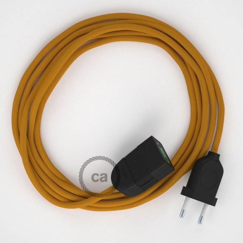 Rallonge électrique avec câble textile RM25 Effet Soie Moutarde 2P 10A Made in Italy.